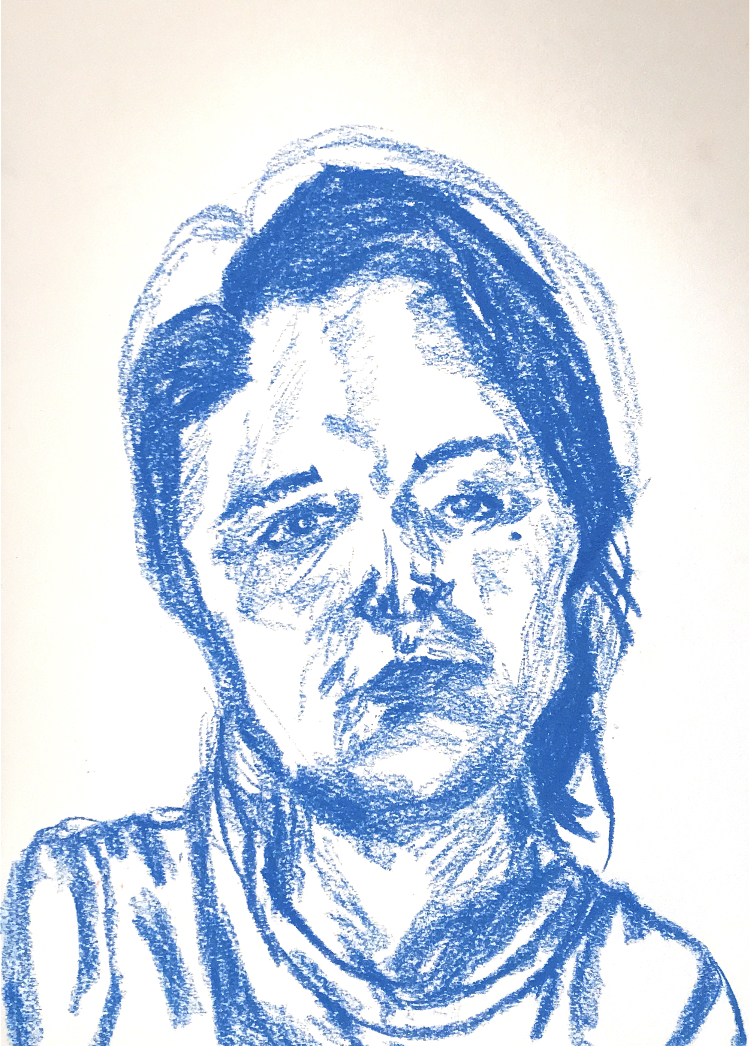 Crooked Face in Blue Charcoal