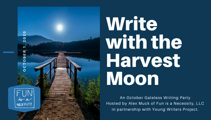 """A dock with a moon and the title of the event """"Write with the Harvest Moon"""""""